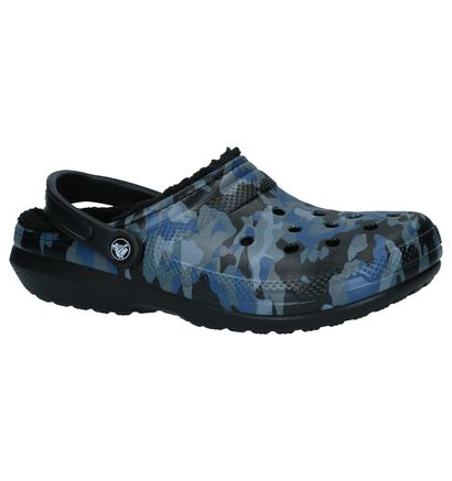 Donkerblauwe Camouflage Slippers Crocs Classic Lined, Blauw, pdp