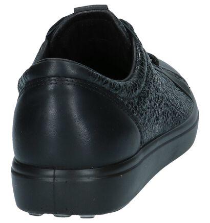 ECCO Soft 7 Zwarte Geklede Sneakers in leer (232075)