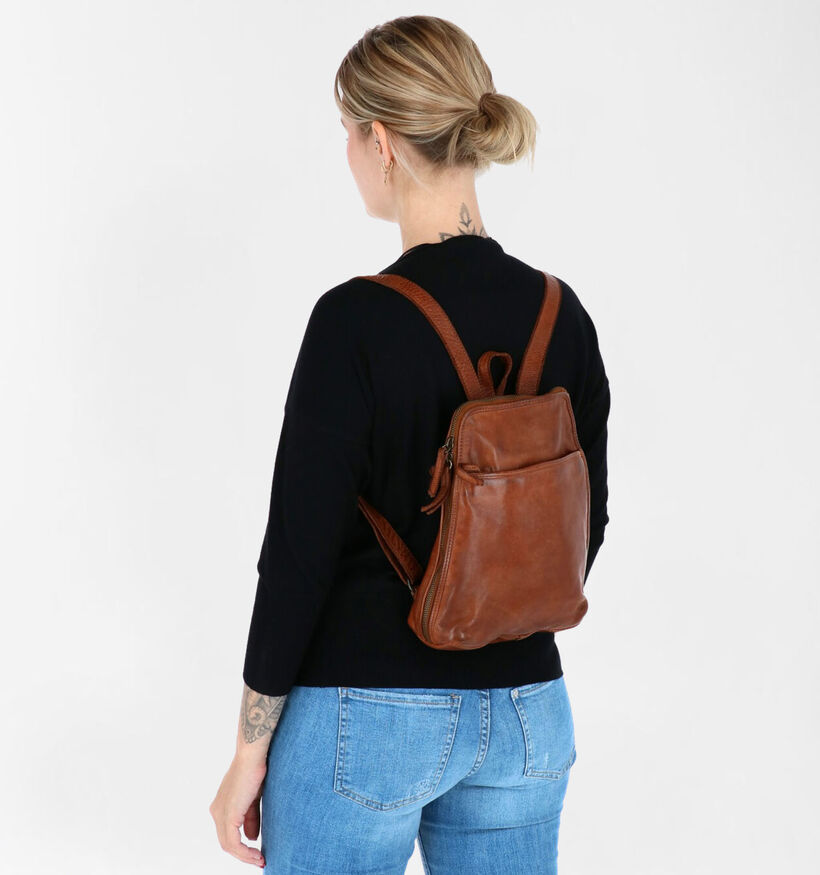 Bear Design Sac à dos en Cognac en cuir (284319)