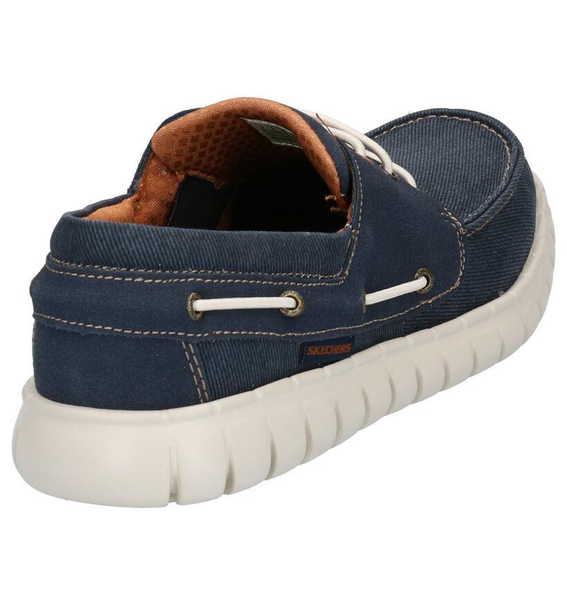 Skechers Blauwe Bootschoenen in stof (272811)