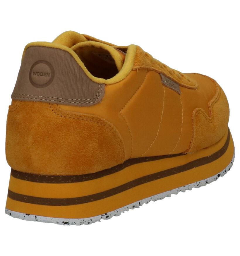 Woden Nora II Chaussures à lacets en Jaune en textile (254194)