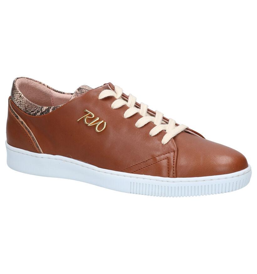 River Woods Ambra Chaussures à Lacets en Cognac en cuir (271157)