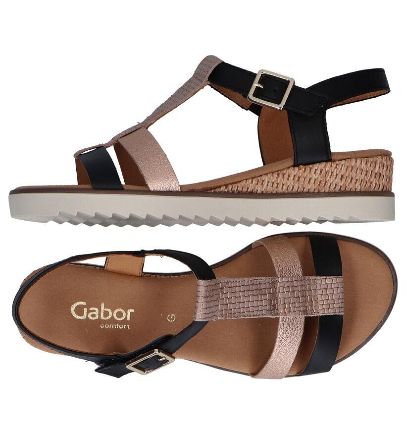 Gabor Sandales à talons en Noir en cuir (287788)