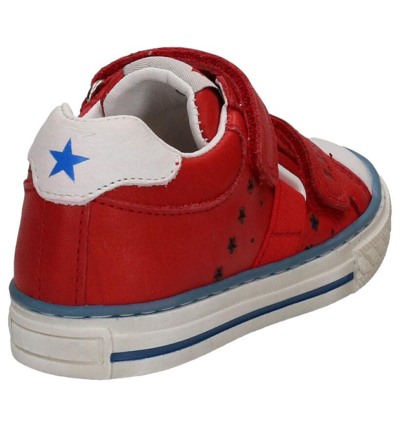 Little David Patton Chaussures à Velcro en Rouge en cuir (273232)