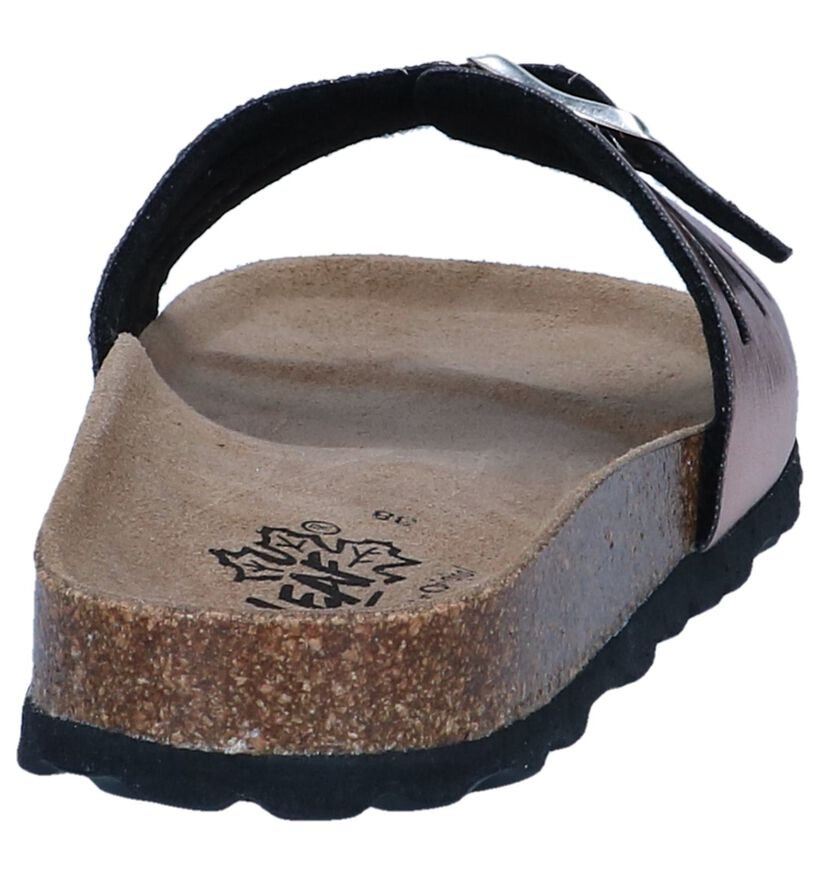 Bronzen Slippers Big Leaf in kunstleer (239149)