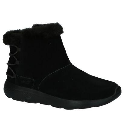 Zwarte Boots met Elastiek Skechers in daim (203041)