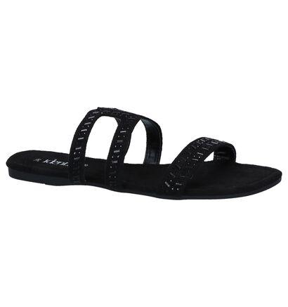 Identity Nu-pieds plates en Noir en textile (240627)