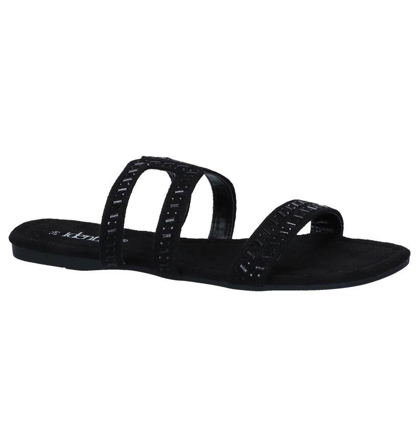 Zwarte Slippers Identity in stof (240627)