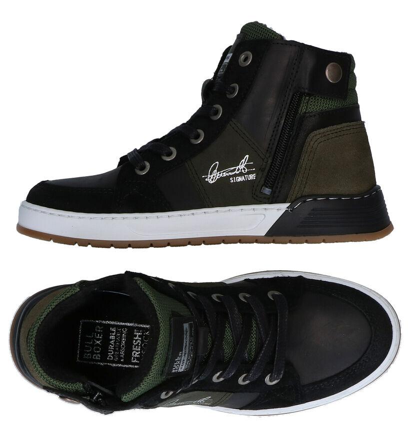 Bullboxer Chaussures Haute en Noir/Kaki en cuir (281074)