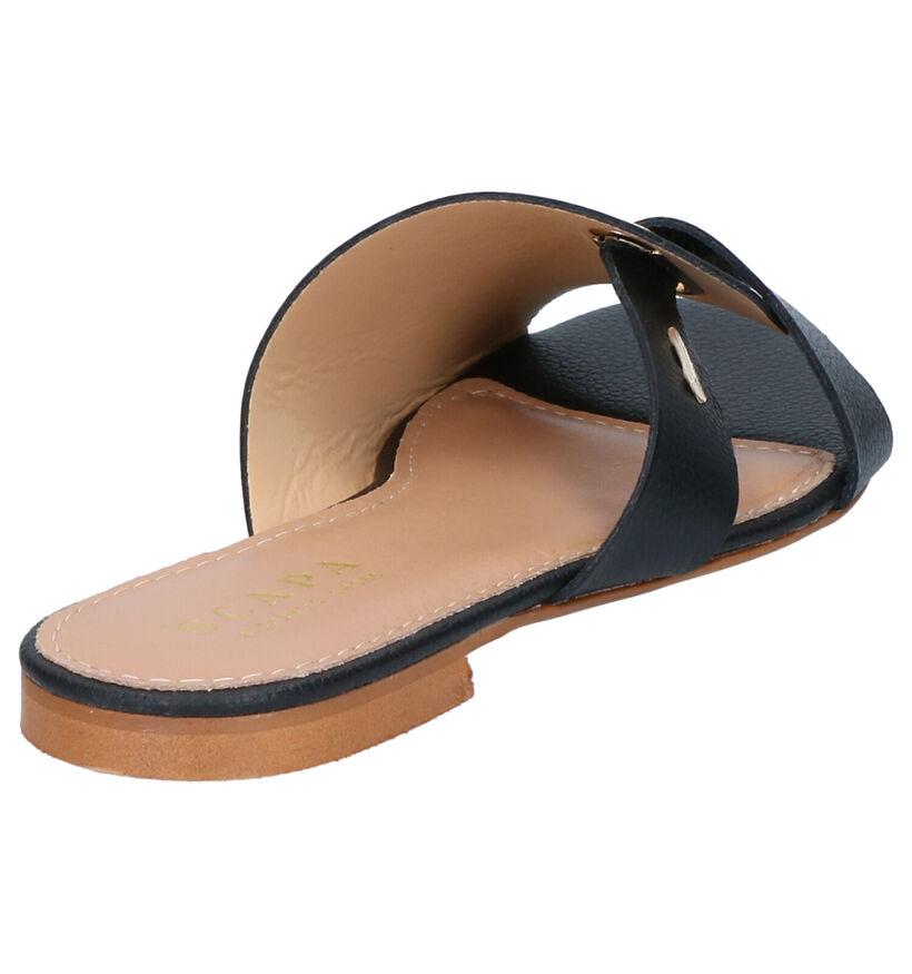 Zwarte Slippers Scapa in leer (270296)