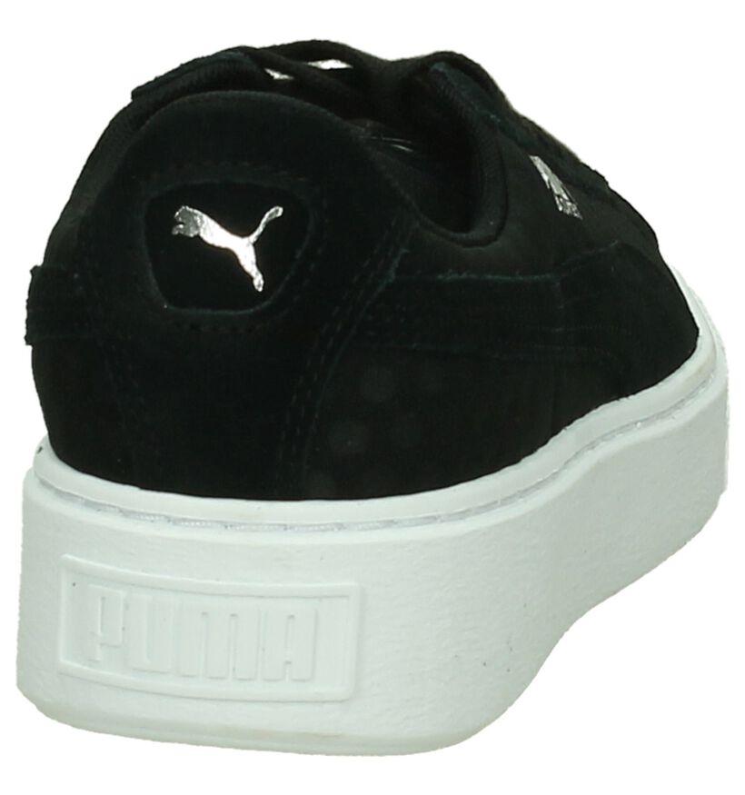 Puma Basket Platform Zwarte Sneakers in stof (199458)