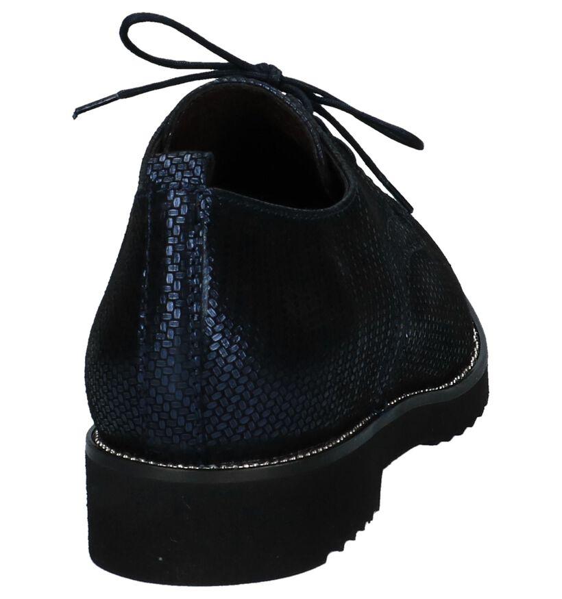 Donkerblauwe Oxford Veterschoenen Softwaves in daim (233070)