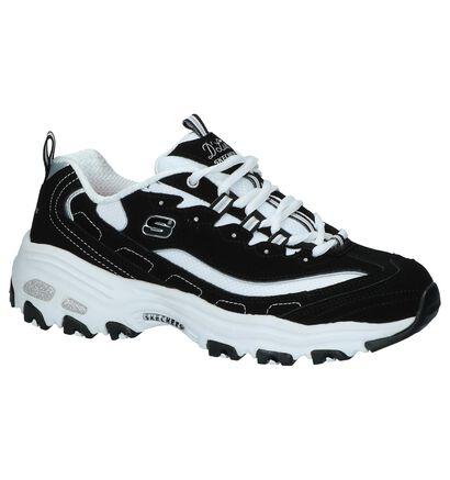 Zwarte Sneakers Skechers D'Lites in daim (224377)