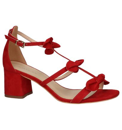 Rode Geklede Sandalen Miss Unique in nubuck (221078)