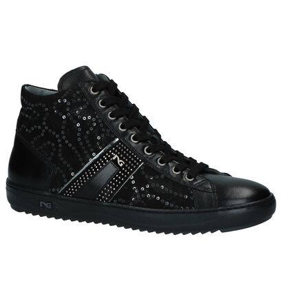 NeroGiardini Zwarte Sneakers met Rits/Veter in leer (226557)