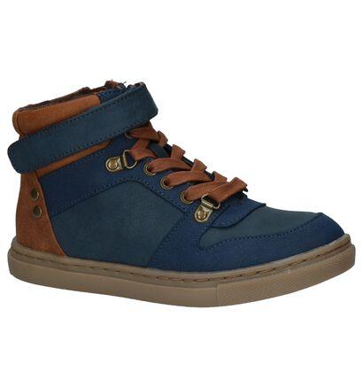 Bullboxer Donker Blauwe Boots met Rits/Veter in kunstleer (227007)