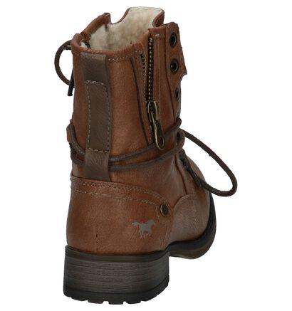 Cognac Boots met Rits & Veter Mustang in imitatieleer (222885)