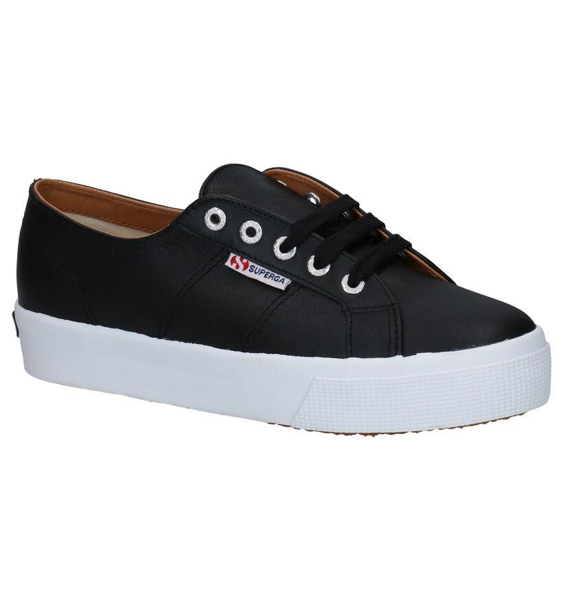 Superga Zwarte Sneakers in leer (284310)