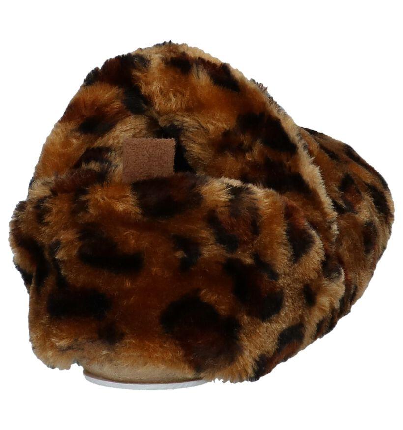 Youh! Bruine Pantoffels met Luipaardprint in stof (225897)