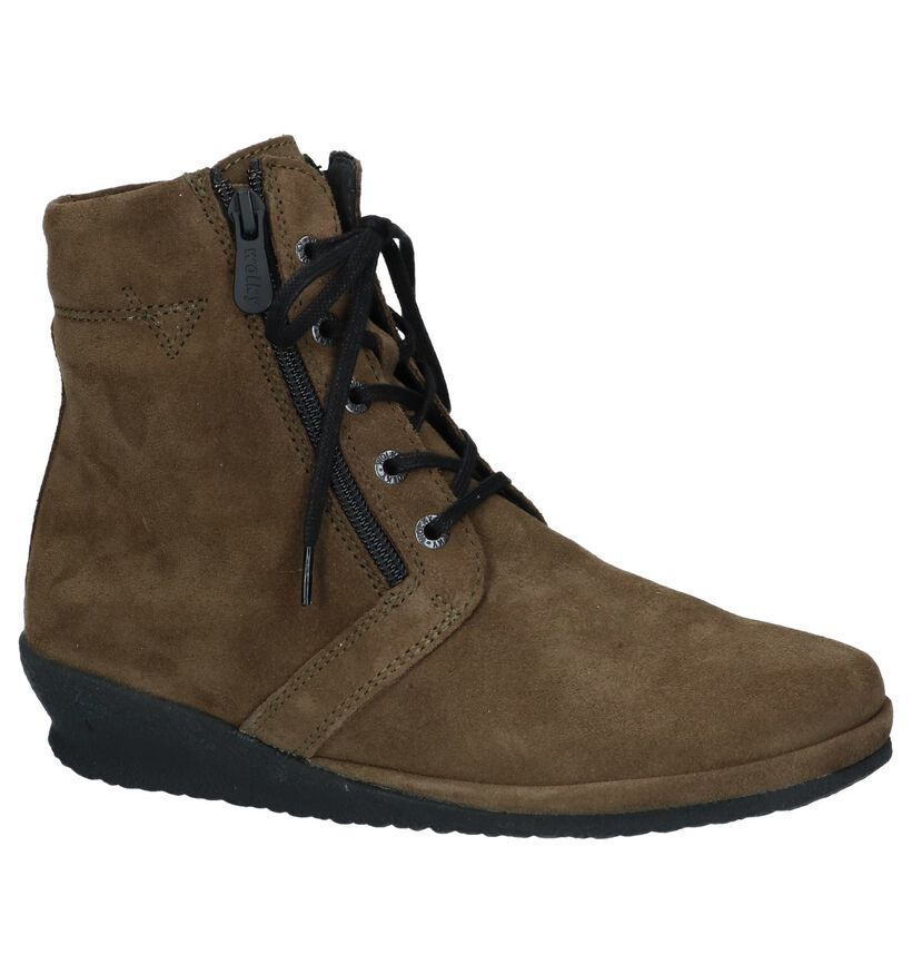 Kaki Bottines met Sleehak Wolky Bakersfield in daim (231813)