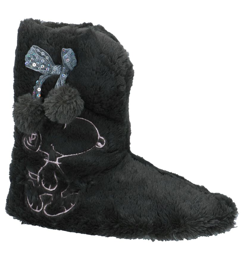 Donkergrijze Pantoffels Snoopy in stof (226599)