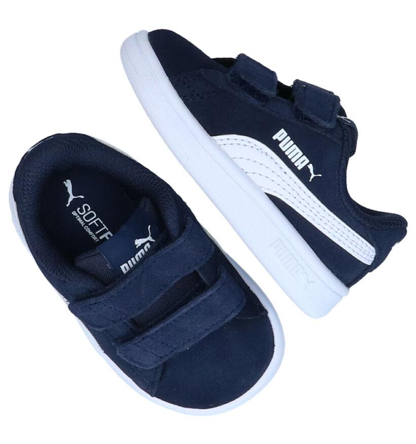 Puma Smash Blauwe Sneakers in daim (265626)