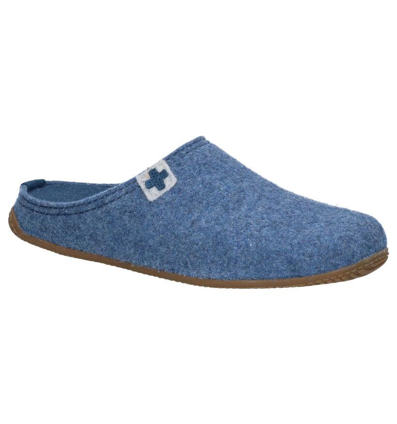 Living Kitzbühel Pantoufles ouvertes en Bleu clair en textile (283317)
