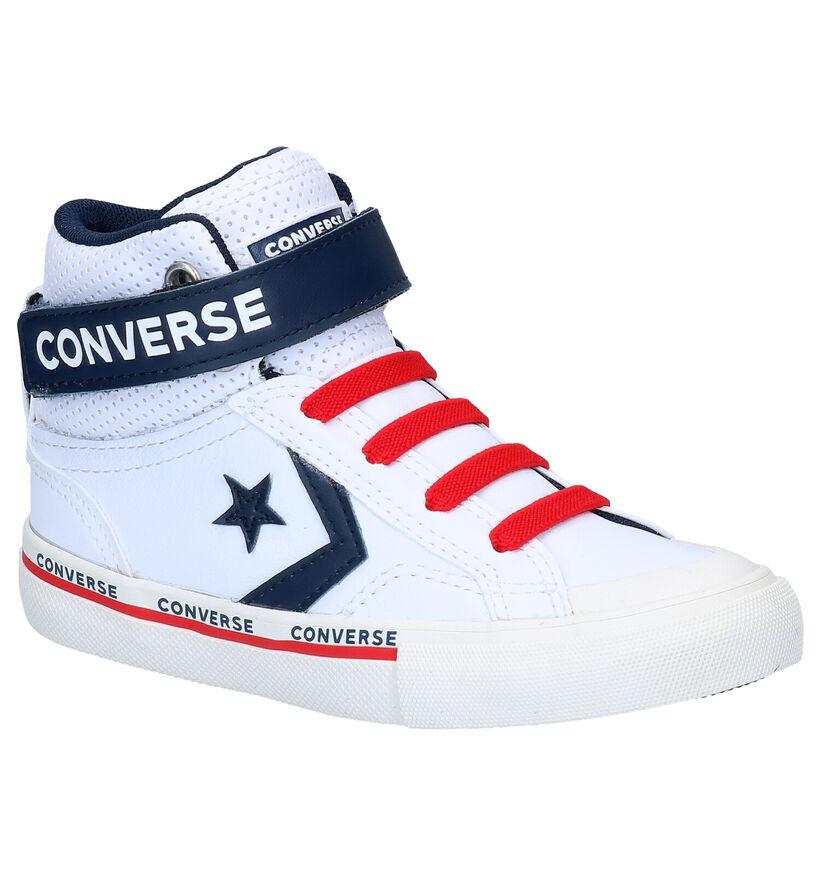 Converse Pro Blaze Strap Hi Baskets en Blanc en cuir (277698)