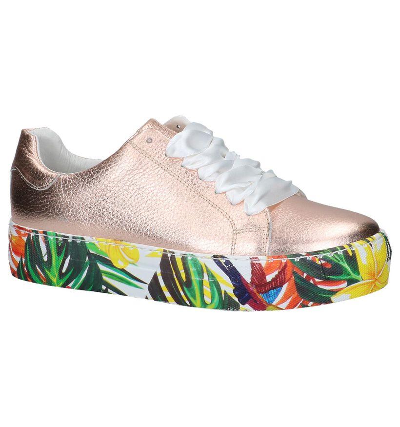 Witte Lage Geklede Sneakers met Bloemen Via Limone by Amalia in leer (221935)