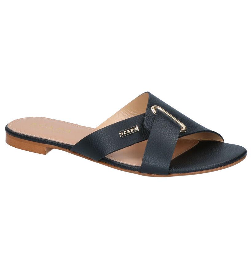 Scapa Nu-pieds plates en Noir en cuir (270296)