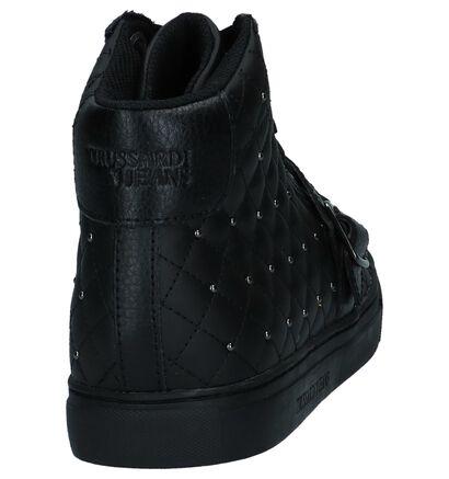 Trussardi Jeans Matelassé Zwarte Hoge Sneakers in leer (222384)