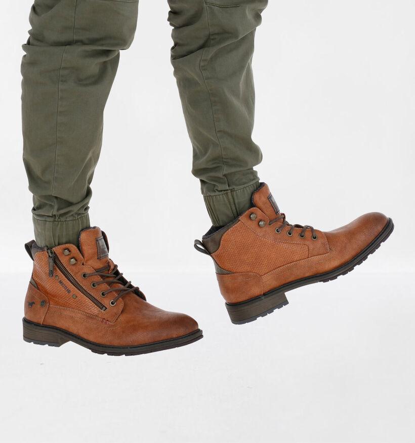 Mustang Cognac Boots in kunstleer (277287)