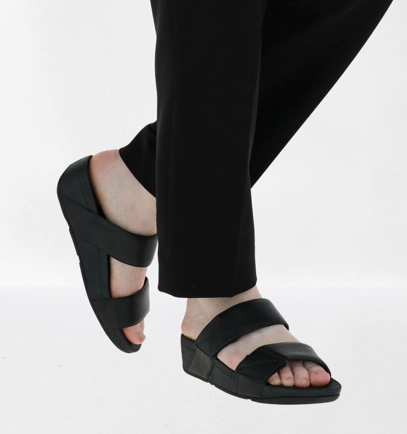 FitFlop Mina Slides Zwarte Slippers in leer (279831)