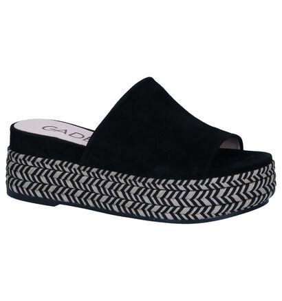 Zwarte Slippers Gadea in daim (246603)