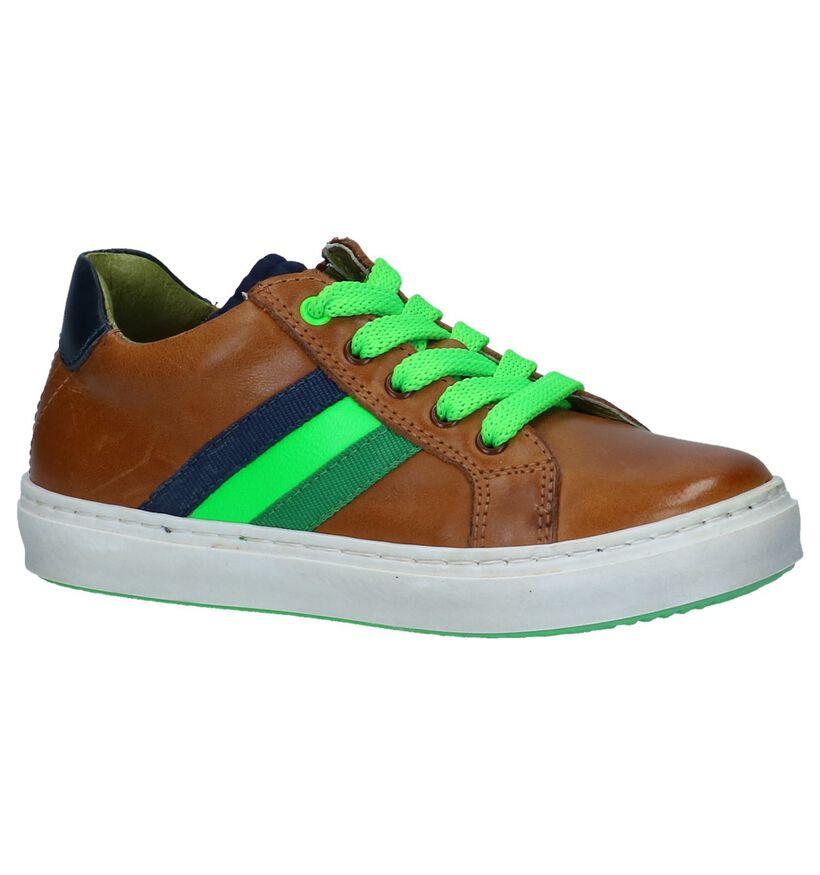 STONES and BONES Chaussures basses en Cognac en cuir (240708)