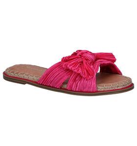 Tamaris Nu-pieds plates en Rose fuchsia en textile (291605)