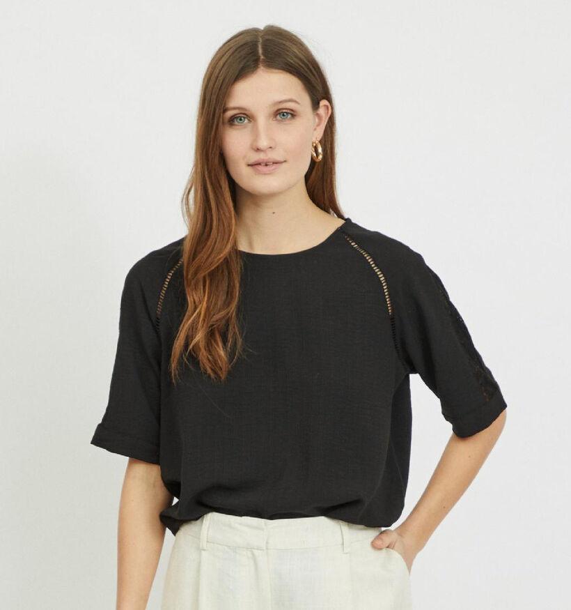 Vila Lovie Sleeve T-shirt en Noir (298639)