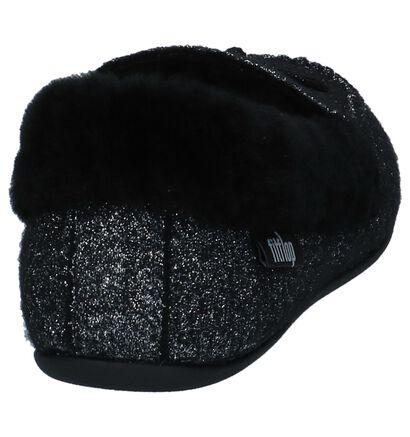 FitFlop Clara Glimmerwool Zwarte Pantoffels in stof (225583)
