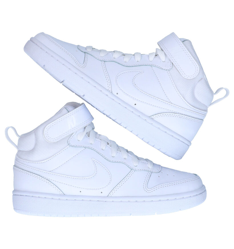 Nike Court Borough Baskets en Blanc en simili cuir (283801)