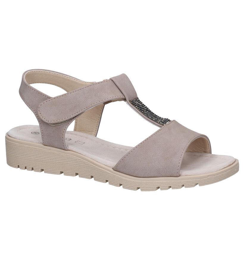 Soft Comfort Nu-pieds plates en Taupe en simili cuir (289213)