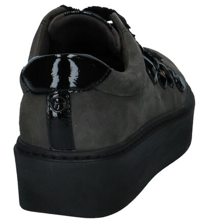 Tamaris Chaussures à lacets en Gris foncé en cuir verni (222155)