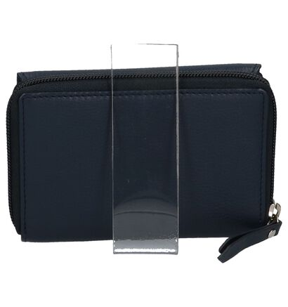 Donker Blauwe Overslagportemonnee Euro-Leather in leer (221090)