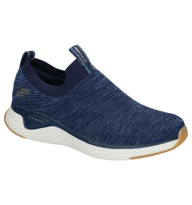 Skechers Baskets slip-on en Bleu foncé en textile (272822)