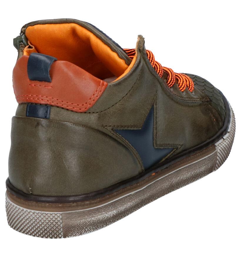 STONES and BONES Tiest Chaussures Hautes en Kaki en cuir (256568)