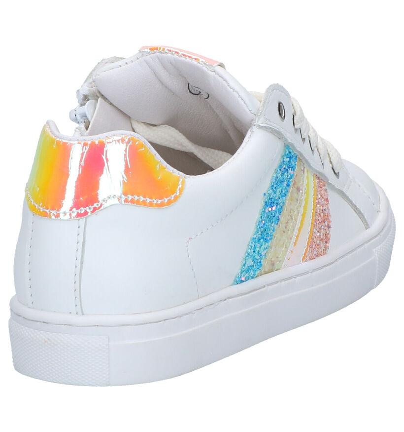 Little David Stripes Chaussures à Lacets en Blanc en cuir (273016)
