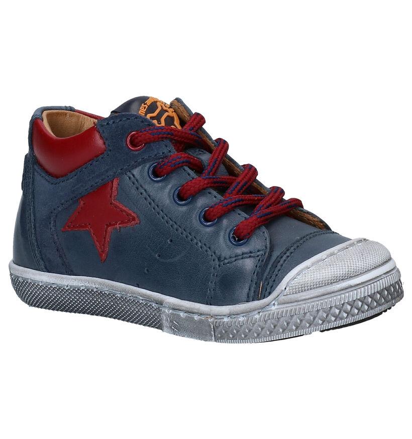 STONES and BONES Leo Chaussures à lacets en Bleu en cuir (278883)