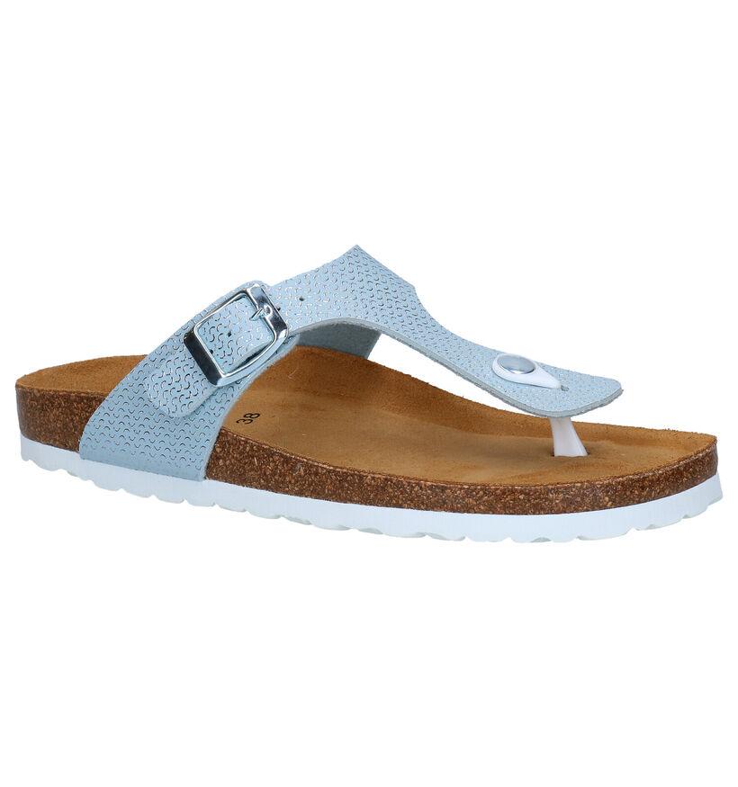 Bio Dream Nu-pieds plates en Bleu clair en simili cuir (266161)