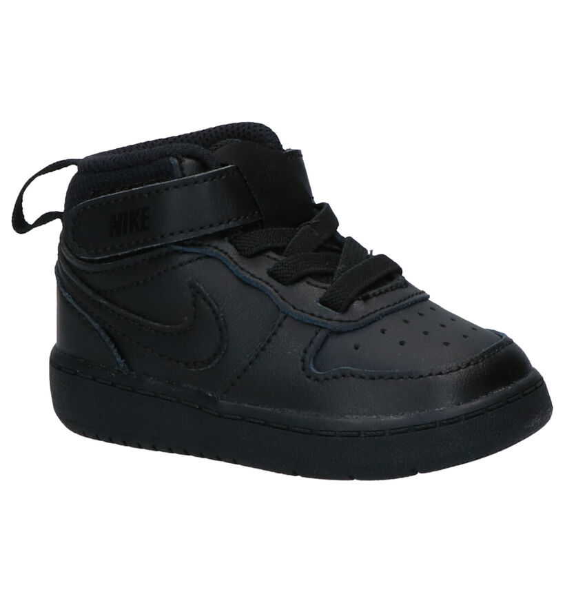 Nike Court Borough Mid Baskets en Noir en simili cuir (261670)