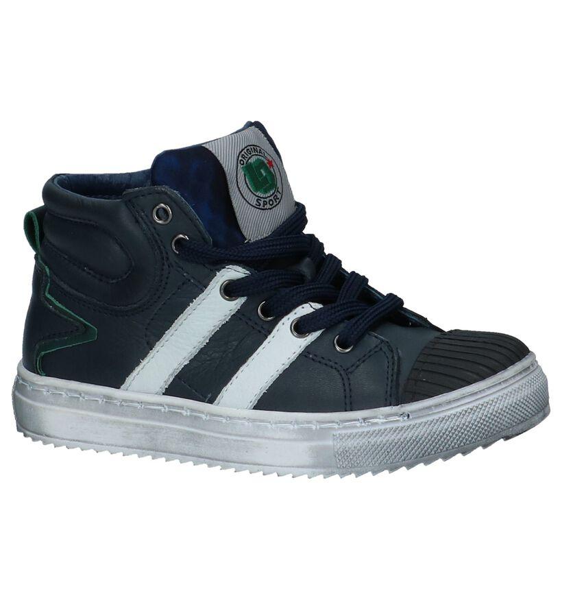 Little David Karl Donker Blauwe Hoge Sneakers in leer (232492)