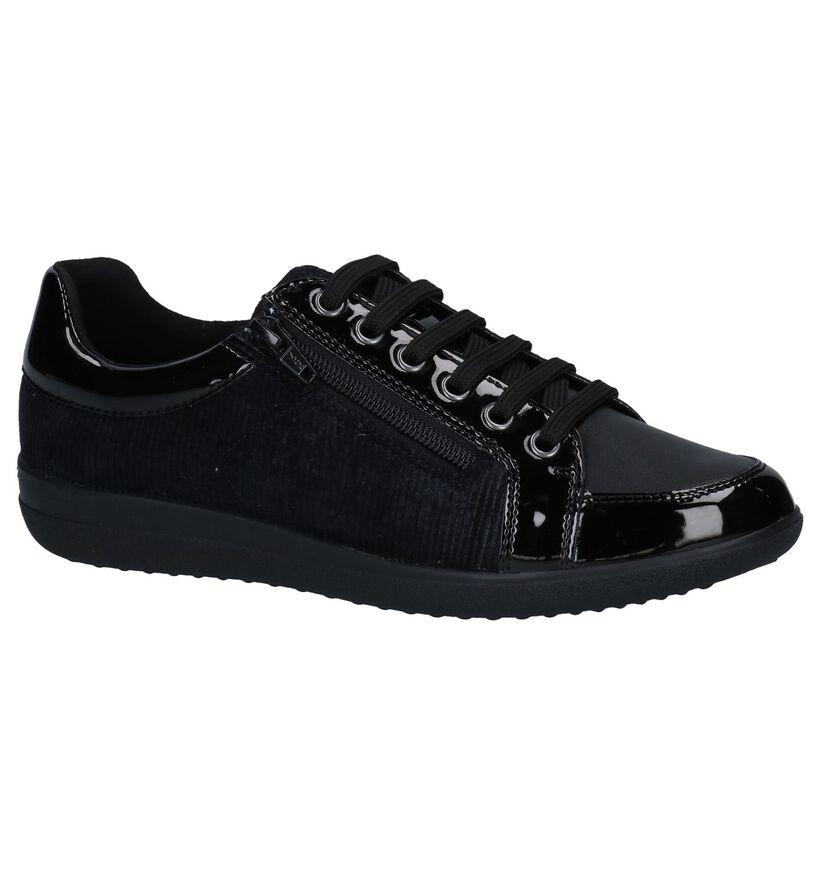 Geoxs Nihal Zwarte Sneakers in kunstleer (251592)
